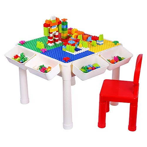 SNAEN Multi-purpose Activity Table Set for Kids Building Drawing Reading Dining – Toddler Play and Learn Desk with 1 Chair 4 Storage Boxes Primary Colors 3+ 150PCS Bricks