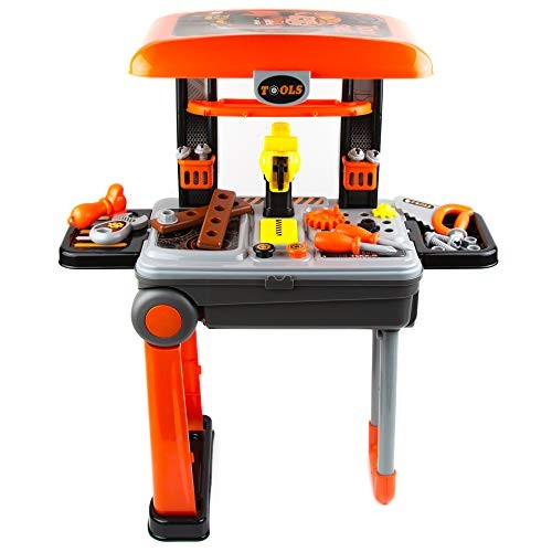 Toytykes 2 in 1 Deluxe Tool Set – Hours of Fun Great for Kids All Ages Enhance Mental Ability Comes with 26 Tools Bag