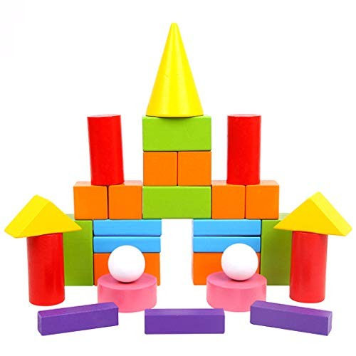 G-Real Wooden Stacking Building Blocks Set Educational Toys Developmental Toy in 8 Colors and Shapes
