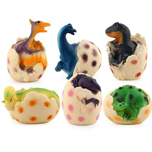 Mkcether 6PCS Novelty Dinosaur Egg ToySimulation Glowing Model Educational Toys for Kids 3 Colors Light Inspire Children's Imagination and Creativity Baby Toddler Infants Girls Boys