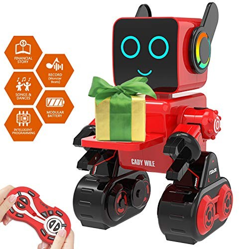 Aukfa Robot Toy for Kids Smart RC Kit with Touch & Sound Control Robotics Intelligent Programmable WalkingDancingSingingTalkingTransfering ItemsGood Gift Red