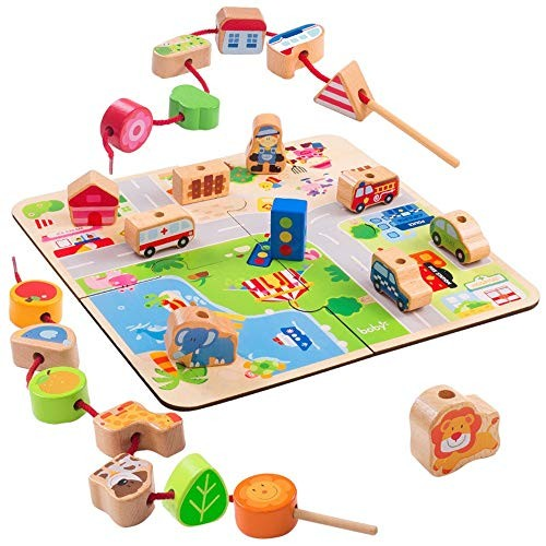Building Blocks Educational Stringing Toy-Large Wooden Transportation Large Lacing Bead Set for Toddlers 24 Pieces Creative