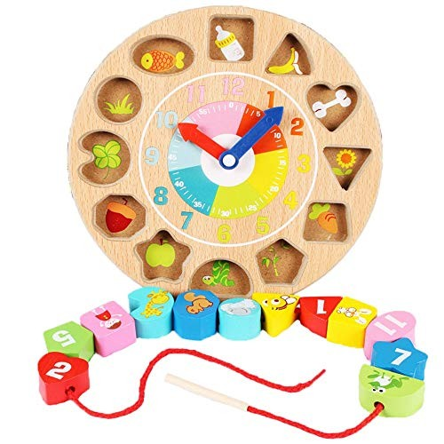 Building Blocks Large Lacing Bead Set for KidsBead Stringing Toddlers Educational Toy-Wooden Shape Creative Color Multi-Colored Size 225cm