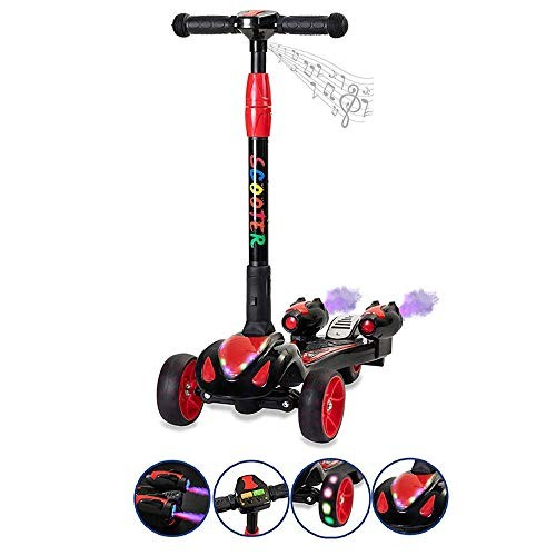 FOREVIVE Children's Scooter 3-Wheel Scooter with Colorful LED Flash Wheel Music Spray Steam Foldable