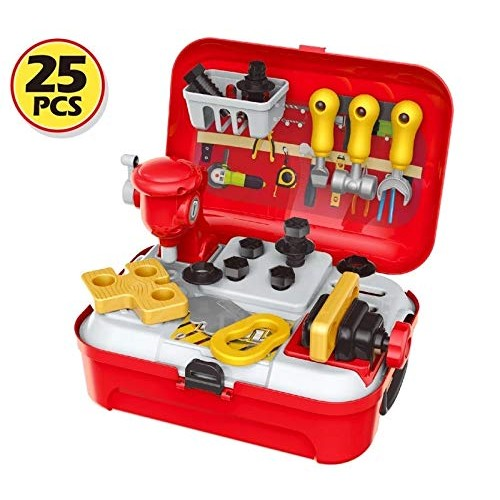 Plastic workshop tool play set kit toy for kids 25pcs with backpack suitcase DIY