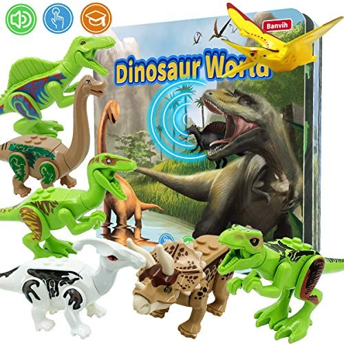 Dinosaur Toys for Boys and Girls 3 Years Old & Up Included 8 Realistic Durable Figures Jurassic Adventure Roar Sound Book KidBirthday Gift Boy Toddler