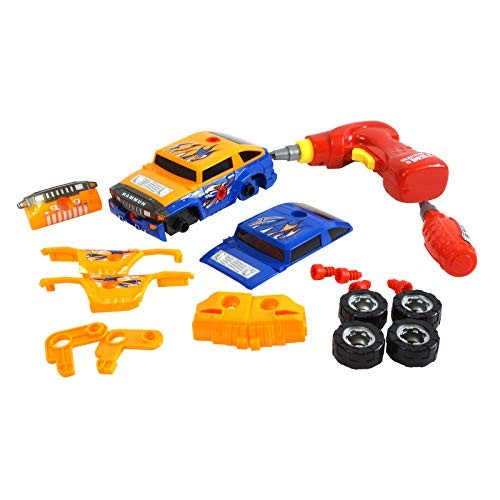 Scale Sports Take Apart Racing Cars 2in1 with Real Tool Drill Build Your Own Toy 36 Piece Constructions Set