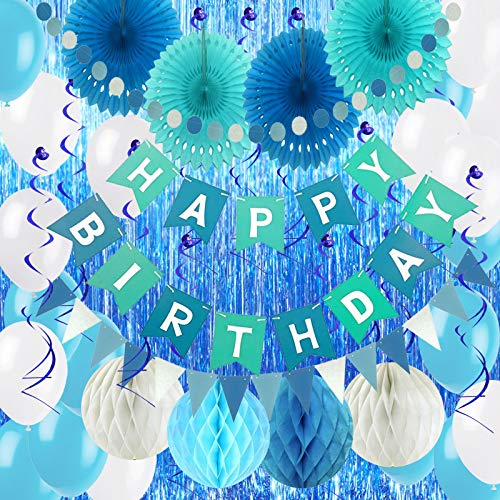 Air Fit Sky and Marine Blue Birthday Boy Party Decorations Set Pack Supplies Garland Banner Bunting with 57 Pieces For Man all of age groups Suppliers