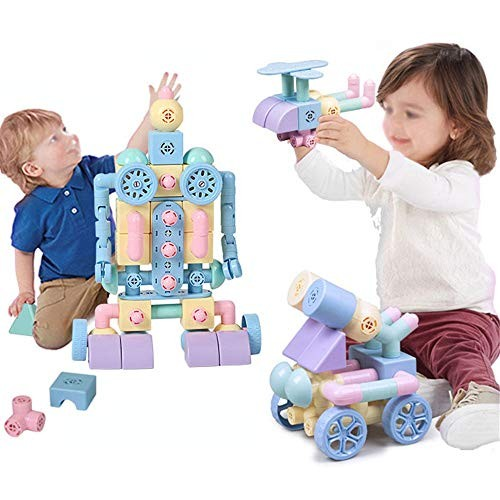 Children's Building Blocks Magnetic Tiles Set Creativity Toy for Preschool ToddlersMagnetic Toys 88 PCS Enlightenment Educational Kids