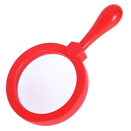 Kids Magnifying Glass Handheld Jumbo Magnifiers with Stand Exploration Play Reading Magnifier for Children 5x Magnification Loupe Ages 3+ Red