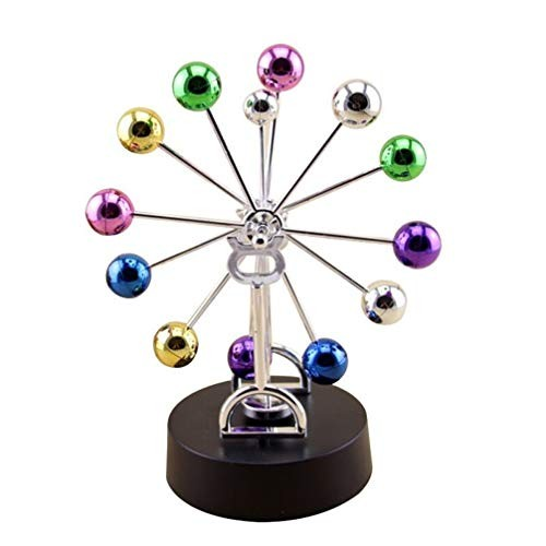 HEALLILY Ferris Wheel Revolving Balance Balls Desk Perpetual Motion Physical Science Toy Kinetic Globe Pendulum Office Home Ornaments Without Battery