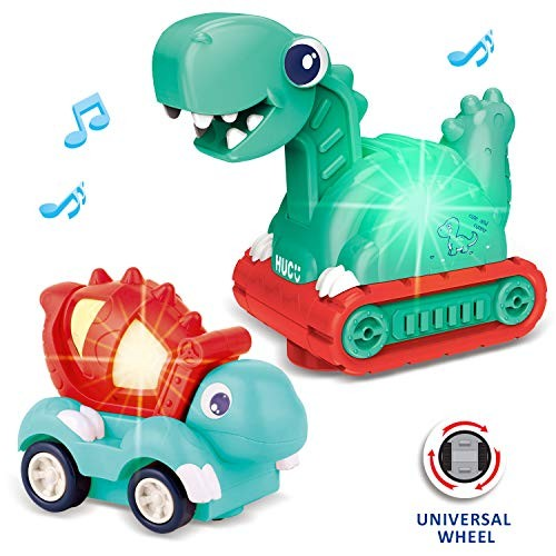 FUN LITTLE TOYS 2 PCs Dinosaur Cars for Kids Electronic Bump and Go Cars