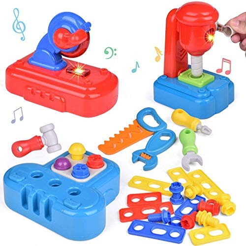 FUN LITTLE TOYS 30 PCs Toddler Tool Set Pretend Play Toy Bench Work Tools for Kids
