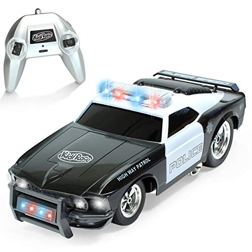 KidiRace Remote Control Police Car with Flashing Lights & Sounds  24GHz RC Cop