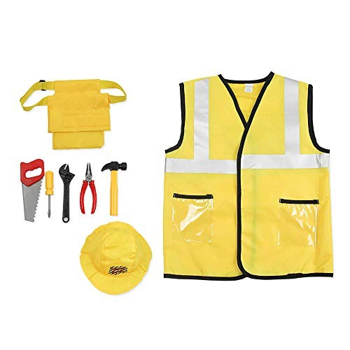Construction Worker Costume Set for Boys Kids Engineering Role Play Dress up Cosplay Accessories Toys Girls Ages 3-7 Years Gold