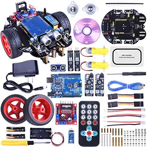 for ArduinoIDE Robot Car Kit with Line Tracking Module Ultrasonic Sensor DIY Starter Robotics Educational Kits Toys Kids Tutorial QS10