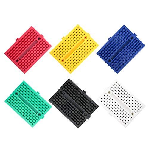 RLECS 6-Pack Breadboard 170 Tie Points Mini Solderless 6 Colors PCB Prototype Protoboard for Test Develop DIY SYB-170