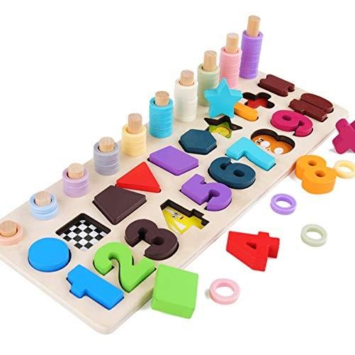 Ruipunuosi Toys Digital Building Blocks Puzzles Children Wooden Pairing Number Shape Match Christmas Birthday Gift