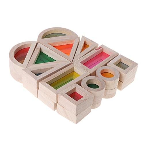 Mwergkou Rainbow Blocks Acrylic Wooden Building for Baby Educational Toy Montessori Kids