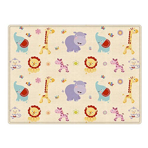 Baby Care Game Pad180cmx150cm Cartoon Animal Vehicles Pattern Large Thicken Reversible Child Crawling Mat Waterproof Non-Toxic Foam Pads for Babies and Toddlers Educational