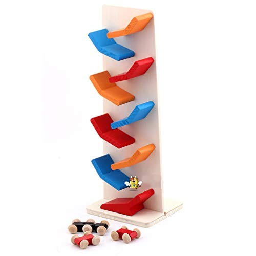 Huilier Collapsible 9 Zigzag Sliding Car Wooden Ladder Small Pulley Building Block Toy