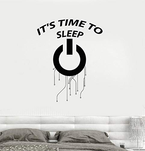 zrisic Wall Stickers It' Time to Sleep Words Decor Vinyl Decal for Bedroom Removable Living Room Kids Decorate 42x53cm