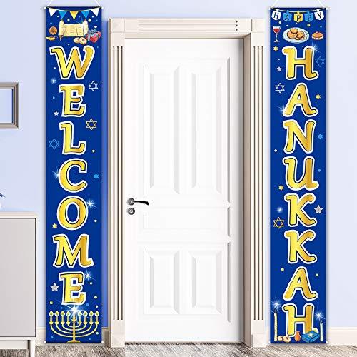 Hanukkah Decoration Set Chanukkah Porch Sign Welcome Banner Garland for Party xmas Winter Snow Blue Hanukkah