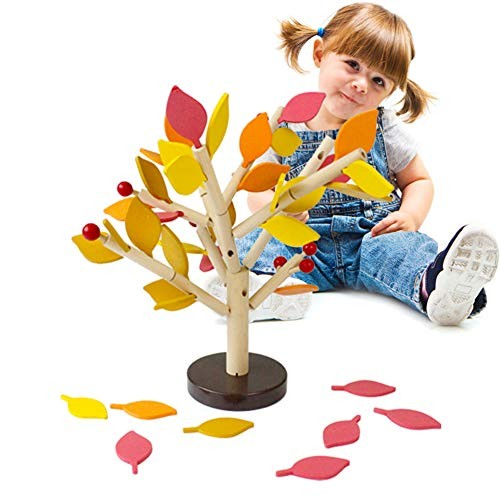 EGFHEAL DIY 3D Wooden Assembling Leaves Building Blocks Puzzle Toy for Infants Kids Early Learning Yellow Leaf