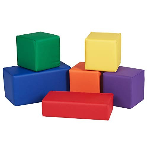 FDP SoftScape Stack-a-Block Big Foam Construction Building Blocks Soft Play Set for Toddlers and Kids 6-Piece Set – Assorted