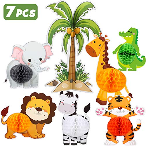 Blulu 7 Pieces Jungle Animals Centerpieces Wild Honeycomb Party Supplies 3D Themed Birthday Decorations Animal Cutouts for Baby Shower Wedding Theme