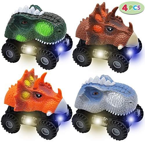 JOYIN 4 PCs Dinosaur Cars with LED Light & Sound Monster Truck Playset for