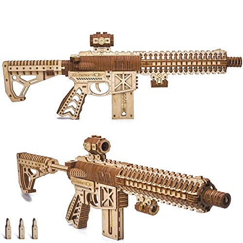 Wood Trick Assault Gun AR-T Model Kit for Adults and Teens to Build – with Telescoping Butt Fuse Sight Clip 12 Rounds Detailed Construction 23×8 3D Wooden Puzzle 14+