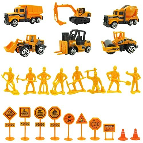 24 pcs Construction Site Play Set with 6 Engineering Vehicles 8 Worker Model&10 Road Signs Smilvy Mixers Forklifts Dump Trucks Bulldozers Excavators Rollers