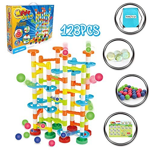 Three2Tango Marble Run 122 pcs Plus 5 Glass Marbles and Carry On Bag Kids Games – STEM Toys for Educational Ages 3+ yrs Bright Colors Non Toxic Safe