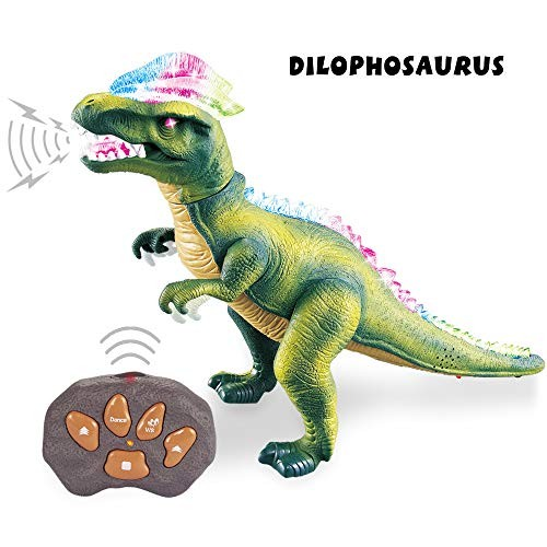Robot Toy Gift for Boys Girls Children Roaring Spraying RC Realistic T-REX Dinosaur Toys with Glowing Eyes Remote Control Dinosaur Electric Toy for Kids Walking