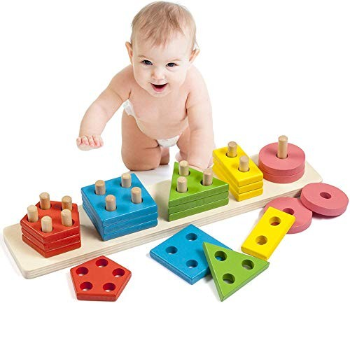 ACHICOO Montessori DIY Building Blocks Toy Smart Wooden Geometric Shape Stacking Kids Educational Play Gag Gifts for