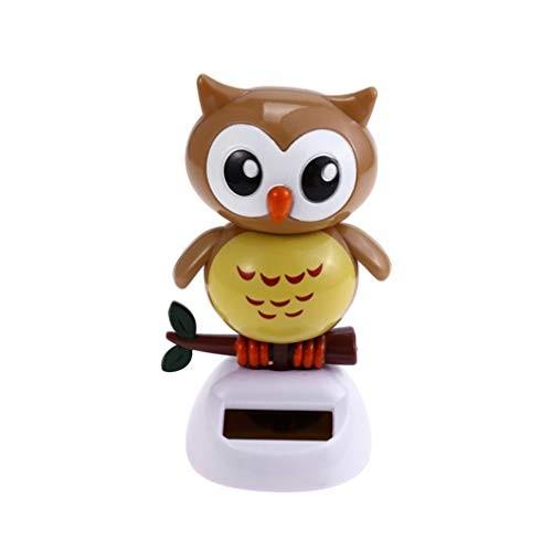 Amosfun Solar Dancing Figures Car Decor Toy Dancer Doll Desktop Decoration Favor Light Coffee Owl Shaped