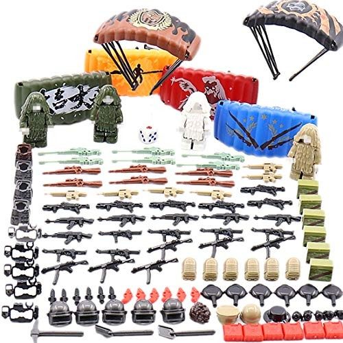 FenglinTech 240PCS Weapon Pack Shooting Game WW2 German Army Vest Armor Parachute and Accessories Kit for Minifigures Police Military Compatible with Major Brands