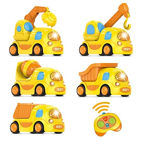 FUN LITTLE TOYS Remote Control Construction Car Toy Set for Boys 5 Pack RC