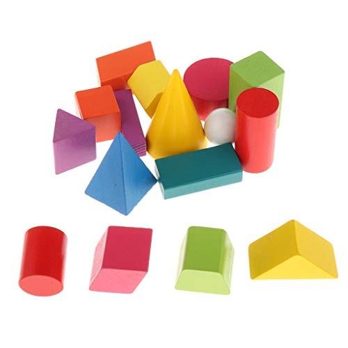 Toygogo 16Pcs Wooden Blocks Construction Building Toys Set Stacking Bricks Board Games
