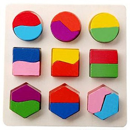 Alelife Kids Baby Wooden Geometry Building Blocks Puzzle Early Learning Educational Toy B