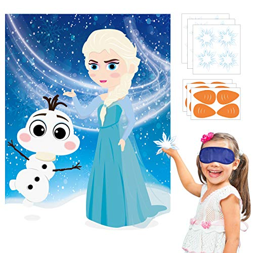 TICIAGA 24pcs Frozen Kids Party Stickers Game Pin The Nose and Magic Ice Snowflake On Large Elsa Olaf Poster Good for Big Winter Wonderland Theme Birthday Princess Favor Supply