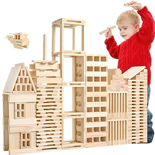 AKDSteel 100pcs Kids Toddlers Building Blocks Wooden Toys Set for Above 3 Years Old Gift