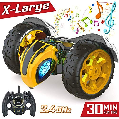 Remote Control RC Stunt Cars Toys for Kids1 8 Rotating 360Flips 24Ghz Electric Rechargable Radio Controlled Race Car with Color Headlights 5 6 7 9 10 12 Years Old Boys Girls