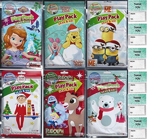 Christmas Winter Play Pack Grab and Go Sofia the First Winnie Pooh Minions Elf on Shelf Rudolph Red Nosed Reindeer 6 Different Packs Guaranteed 6 Thank You Cards Great for xMas Party Favors Stocking Stuffer