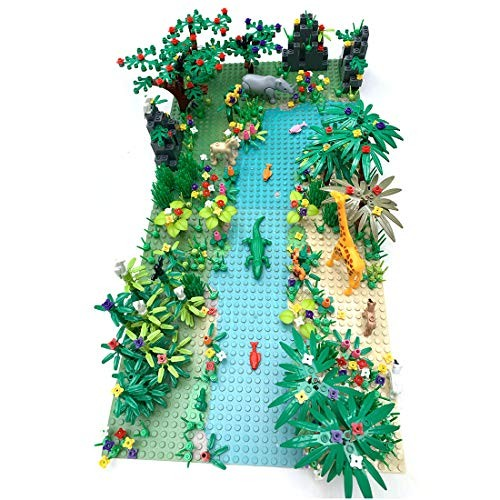 Yamix Jungle Forest Garden Park Building Block Parts Rainforest Plants Trees Flowers Scenery Bricks Toy Set with Base Plates Compatible All Major Brands