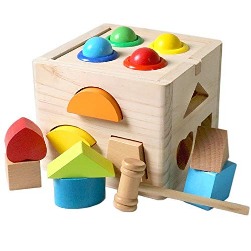 Teerwere Blocks Toys Wooden Educational and Colorful Intelligence Learning Building Ideal for Kids Cube Color Color Size Free Size