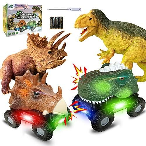 Dinosaur Toys Cars Set for Kids 4 Pack Dinosaur Vehicles Set Dino Cars with
