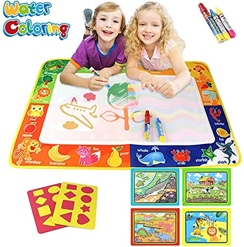 Joyjam Toys For 2 4 Year Old Girls Boys Aqua Magic Doodle Water Mat Set 30 X 20 Mess Free Painting Drawing Board Coloring Books Toddlers With 3 Pens Kids Birthday Gifts Shb Educational Toys Planet