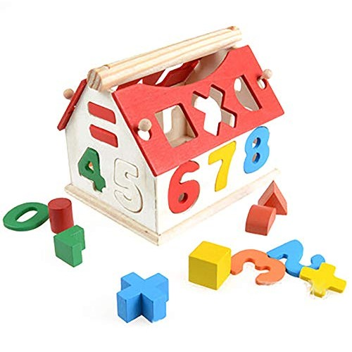 Jeeke Wooden Puzzle Building Blocks Toy Digital Wisdom House Baby Preschool Educational and Learning Toys for Boys Girls